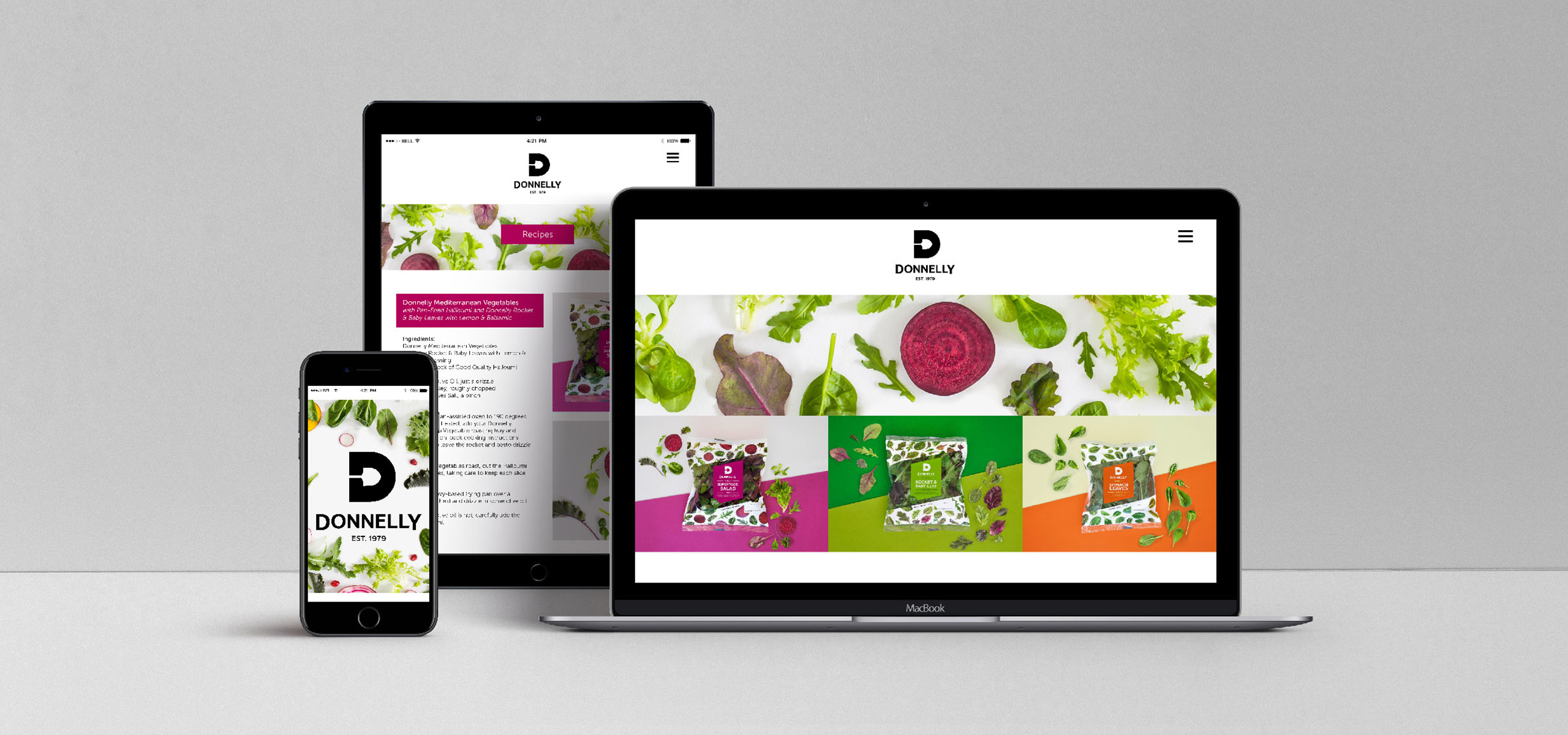 Website design for food brand Donnelly, designed by White Bear Studio