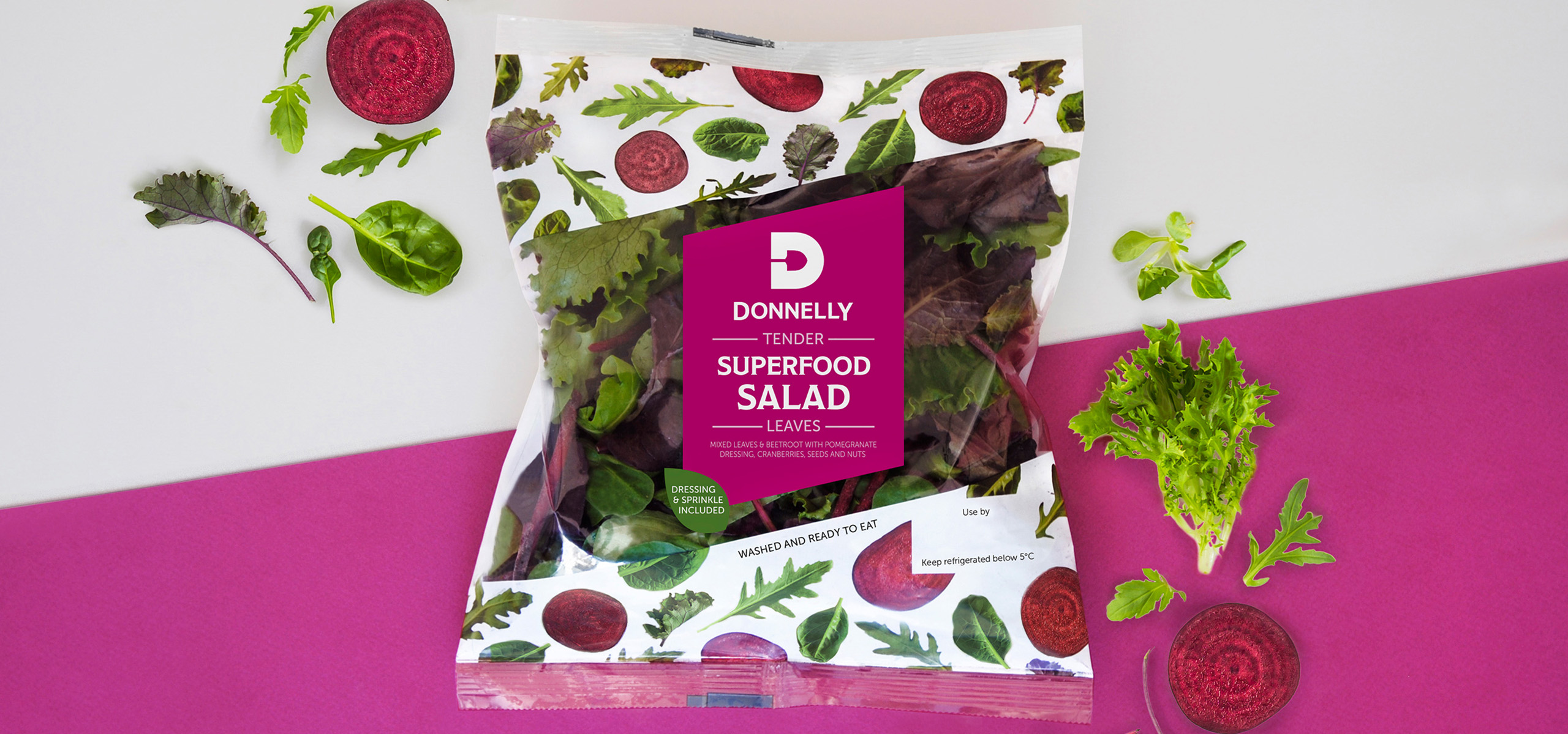 Superfood salad packaging for food brand Donnelly, designed by White Bear Studio