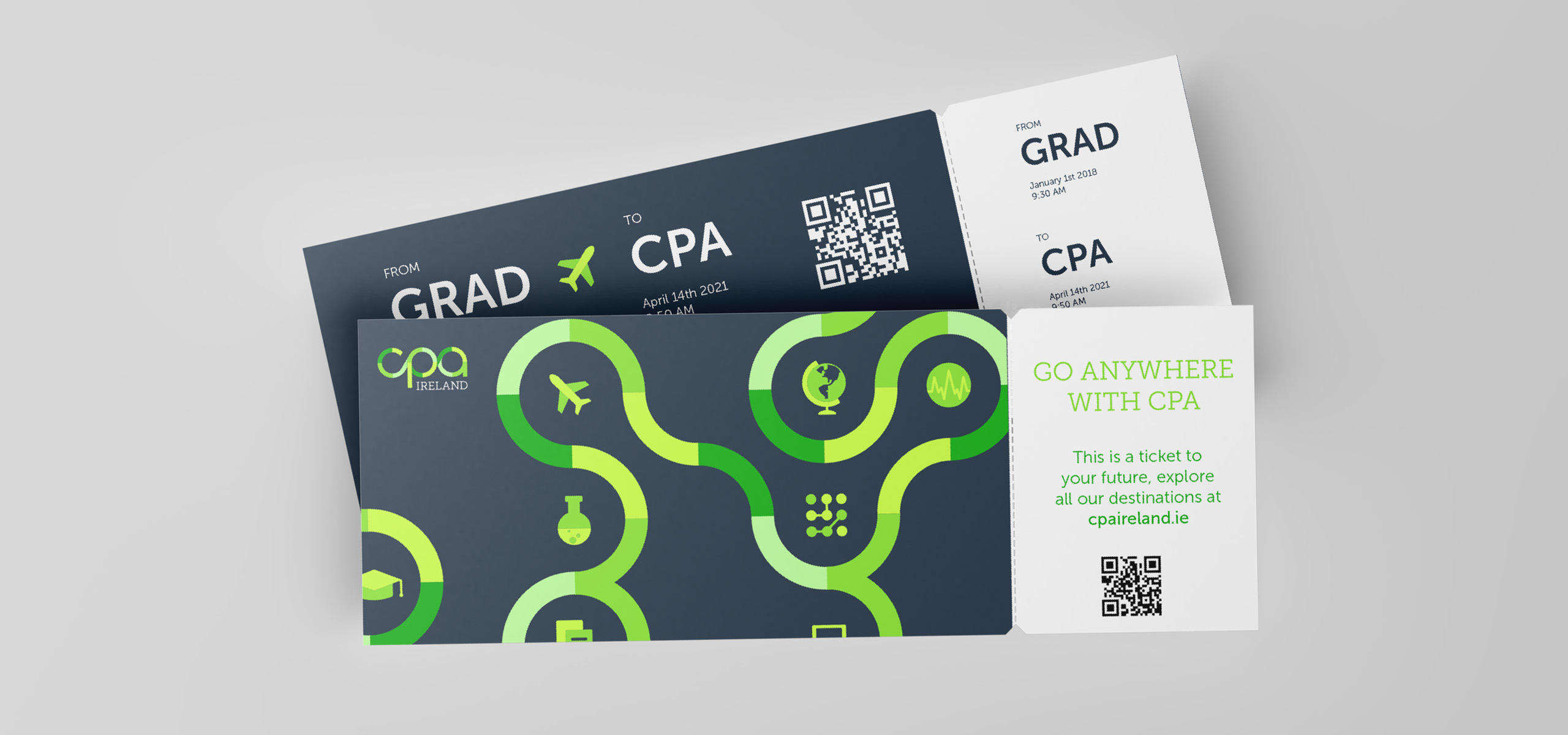 Ticket promotional concept for Irish accountancy brand CPA, designed by White Bear Studio