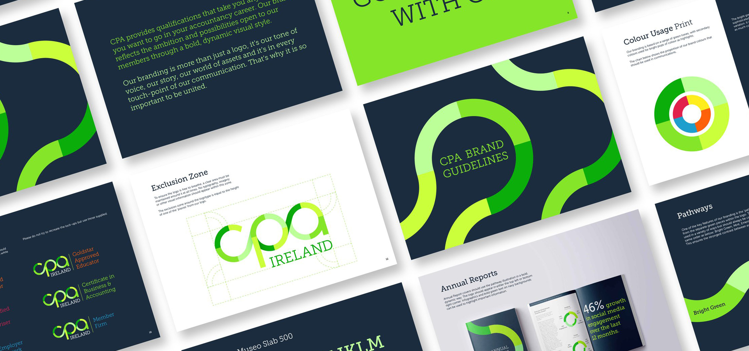 Brand guidelines for Irish accountancy brand CPA, designed by White Bear Studio