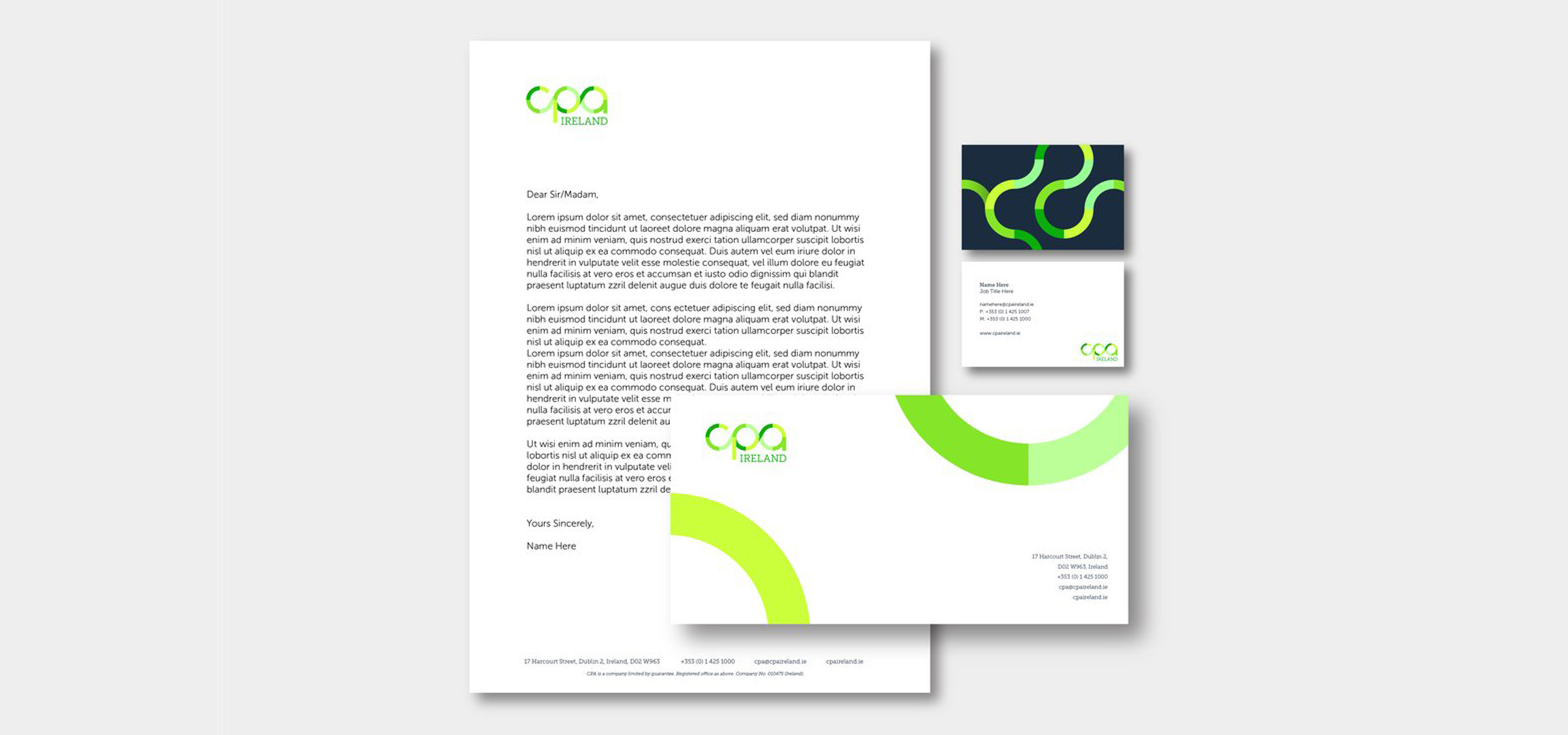 Stationery for Irish accountancy brand CPA, designed by White Bear Studio