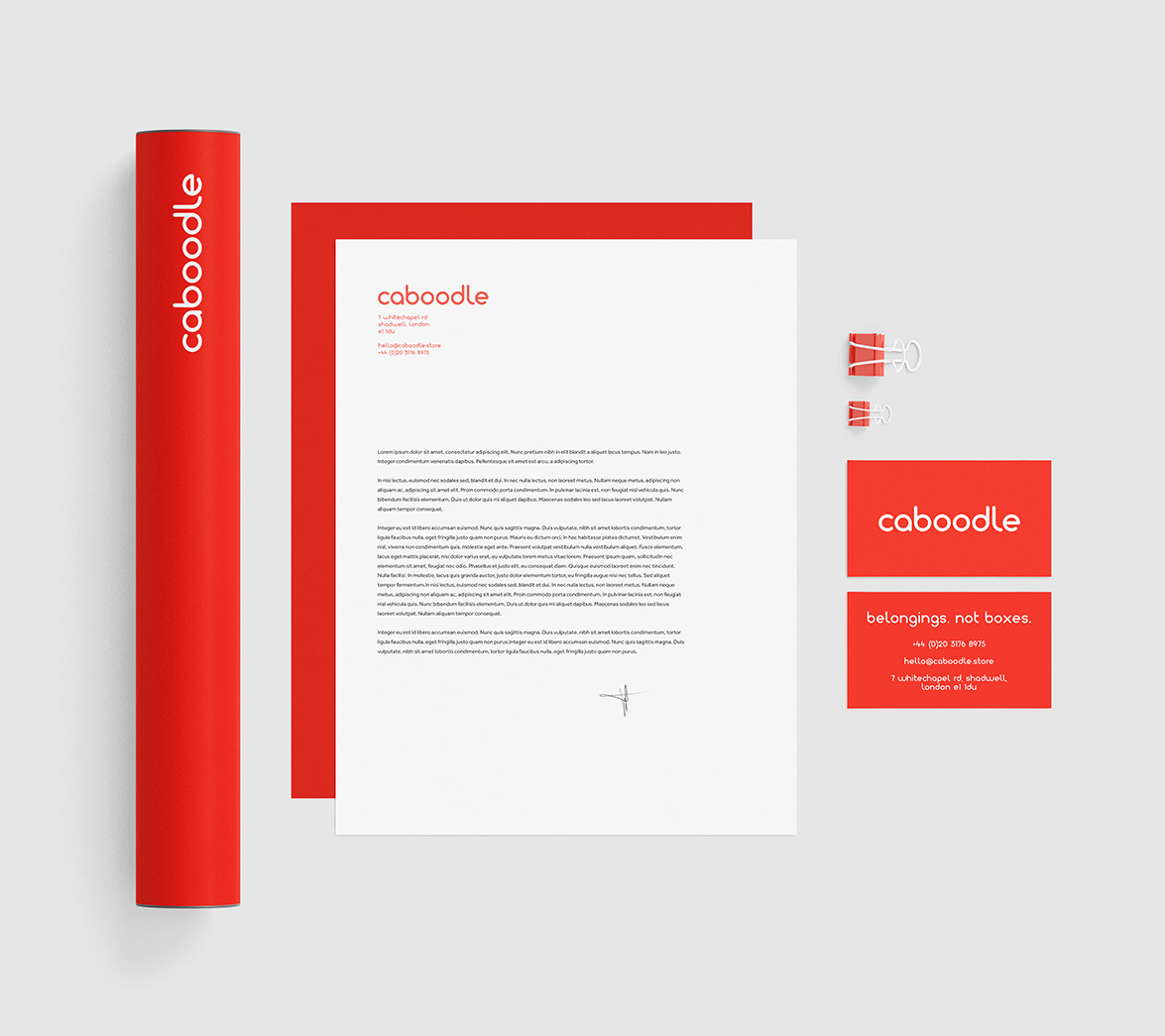 Stationery design for new startup brand Caboodle, designed by White Bear Studio