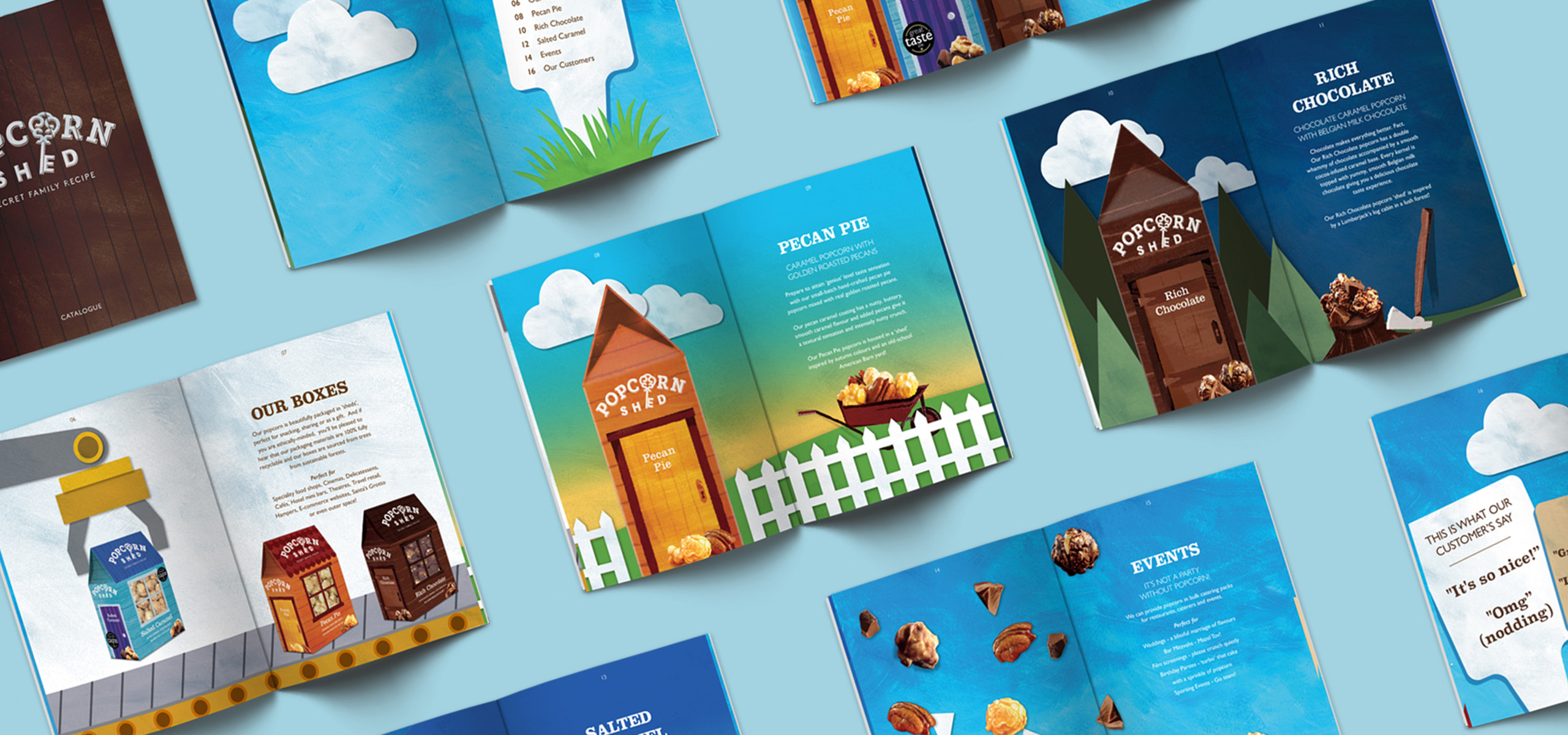Brand book for food startup brand Popcorn Shed, designed by White Bear Studio