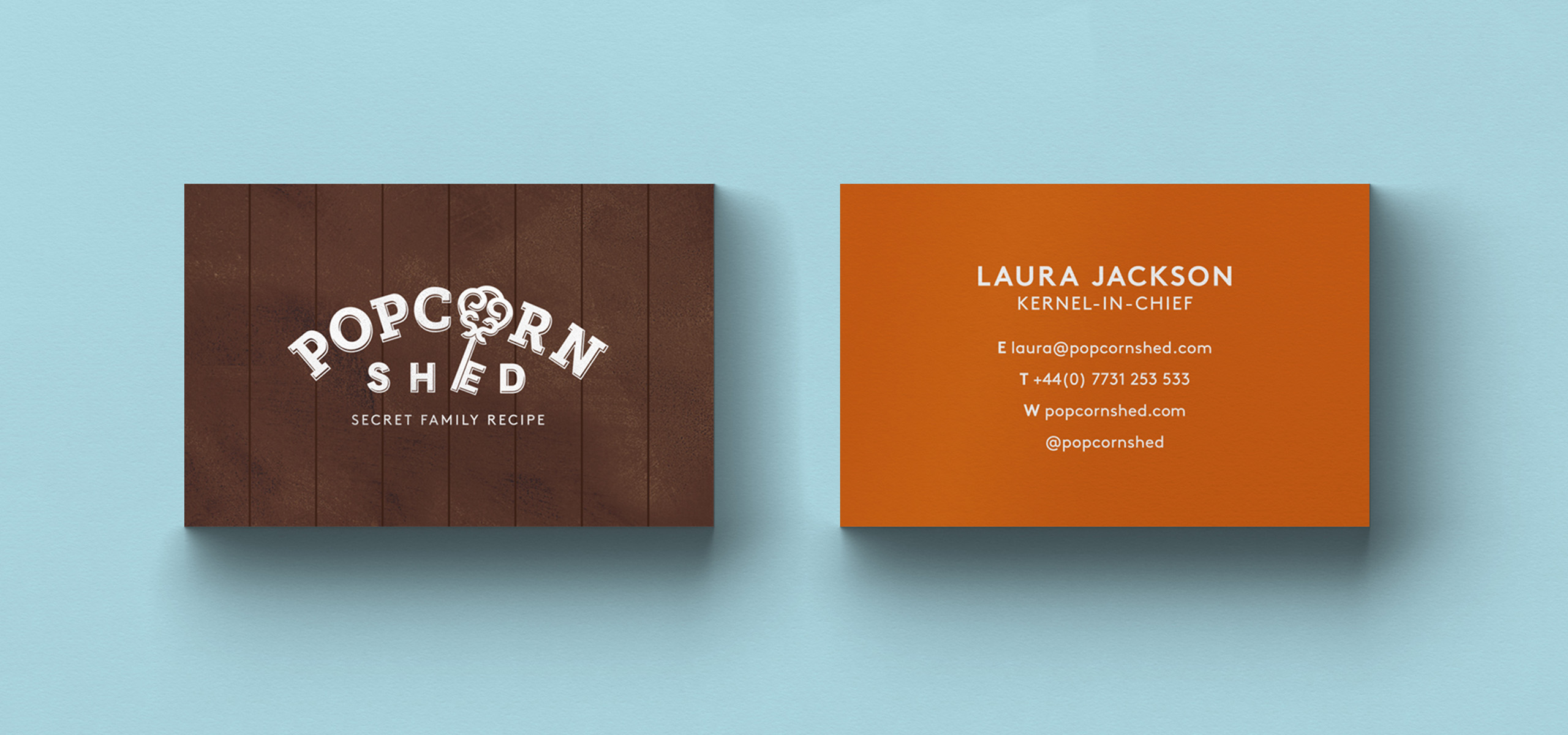 Business card design for food startup brand Popcorn Shed, designed by White Bear Studio