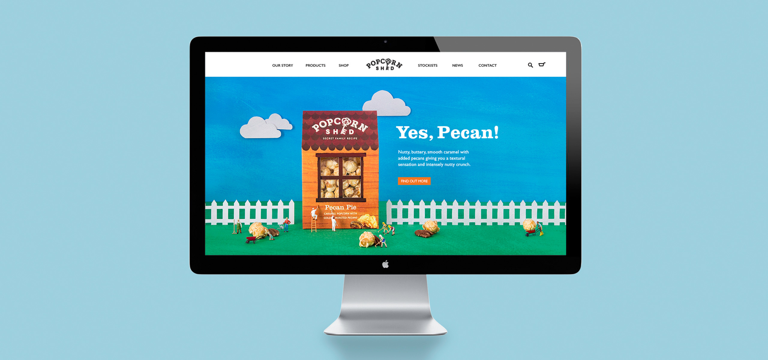Website design for food startup brand Popcorn Shed, designed by White Bear Studio