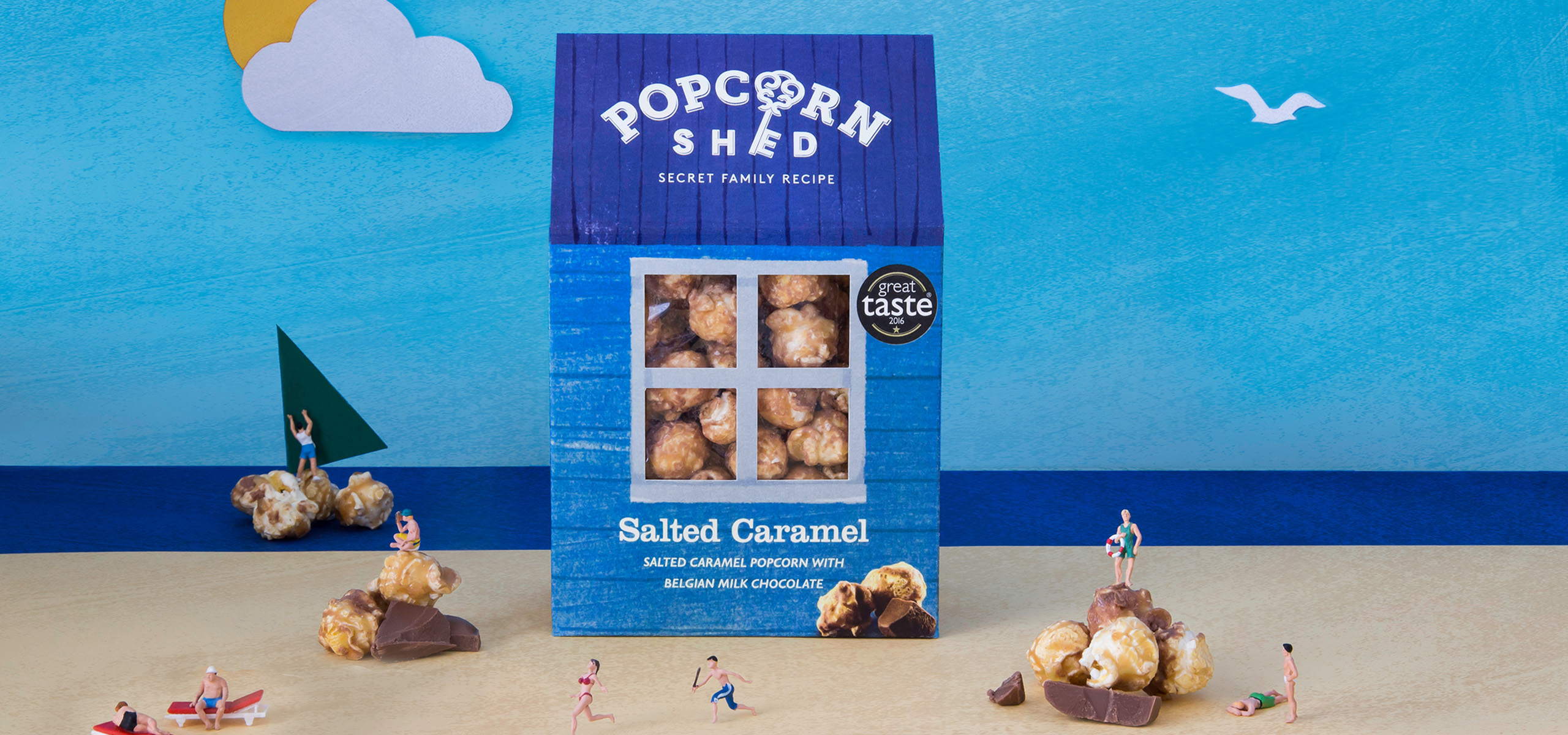 Salted Caramel flavour packaging design for food startup brand Popcorn Shed, designed by White Bear Studio