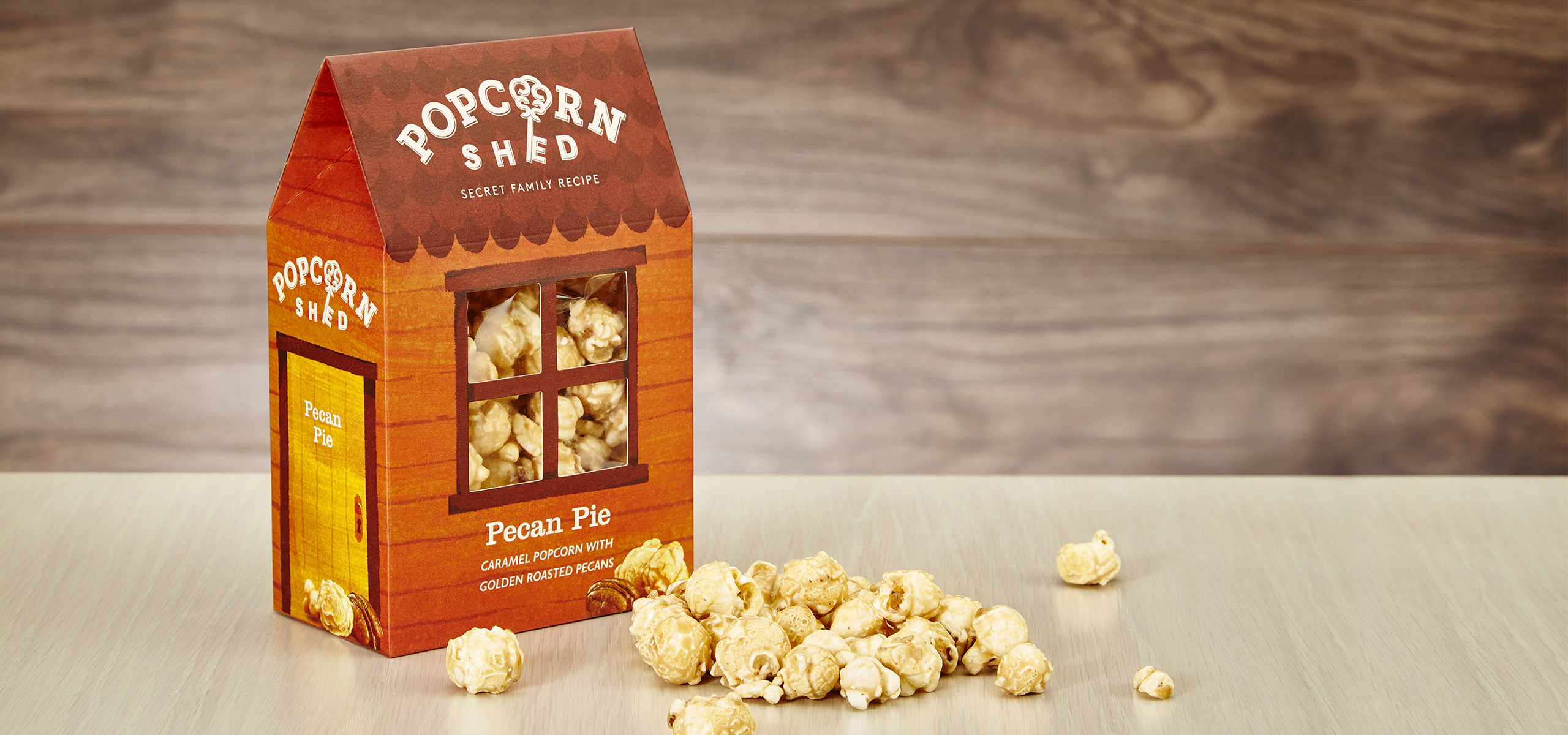 Pecan flavour packaging design for food startup brand Popcorn Shed, designed by White Bear Studio