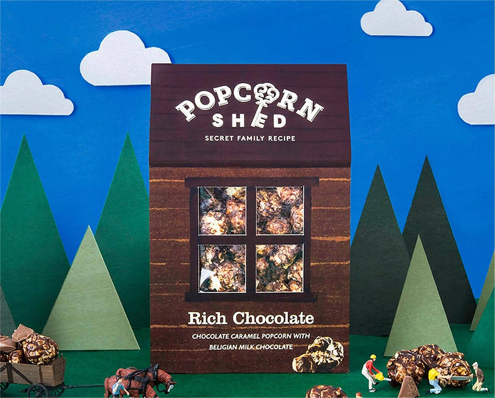 Chocolate flavour packaging design for food startup brand Popcorn Shed, designed by White Bear Studio