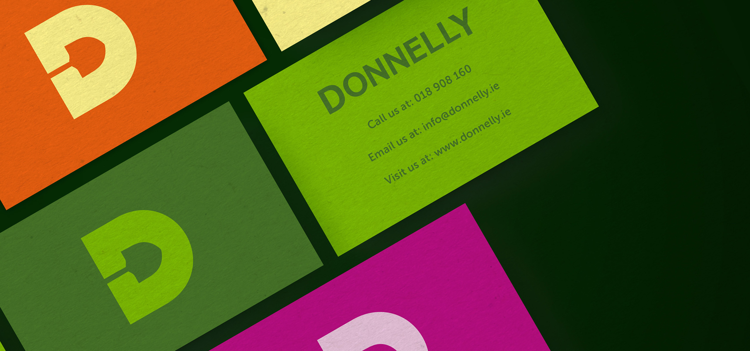 Business cards for food brand Donnelly, designed by White Bear Studio