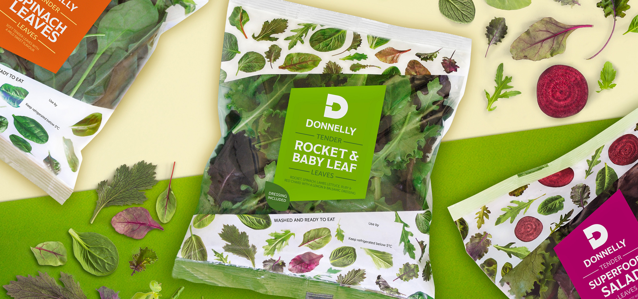 Packaging design for food brand Donnelly, designed by White Bear Studio