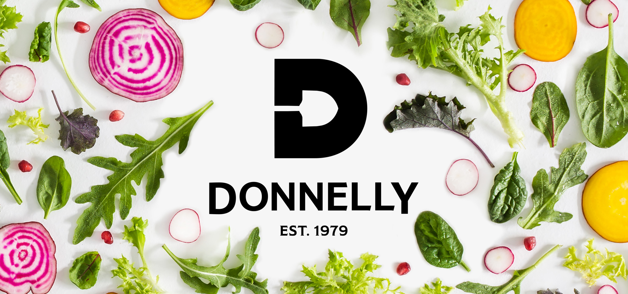Logo mockup for food brand Donnelly, designed by White Bear Studio