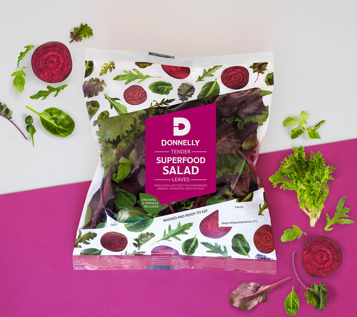 salad bag branding and packaging purple background donnelly