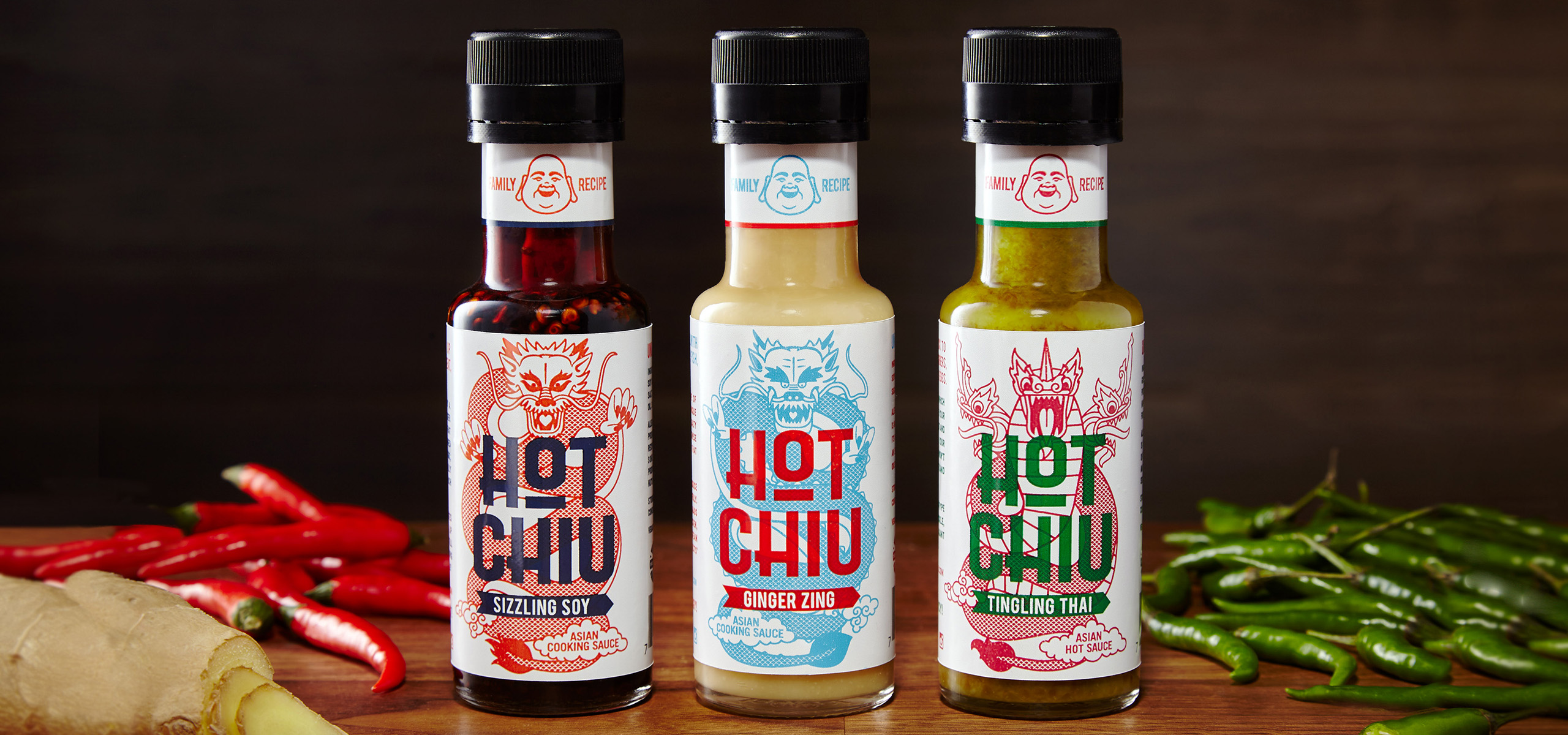 3 bottles packaging design for food startup Hot Chiu, designed by White Bear Studio