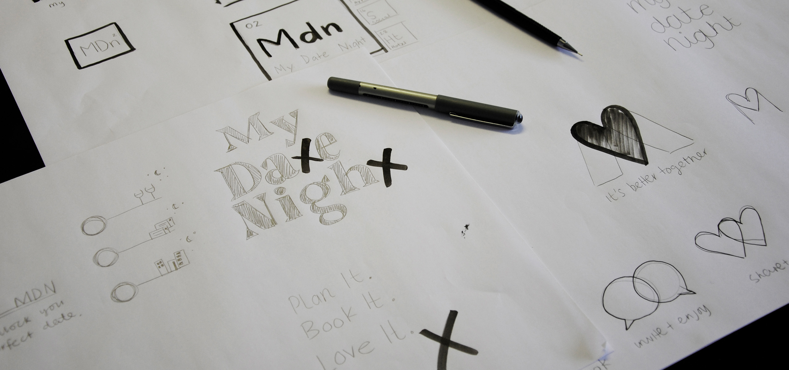 Initial sketches for new startup brand My Date Night, designed by White Bear Studio
