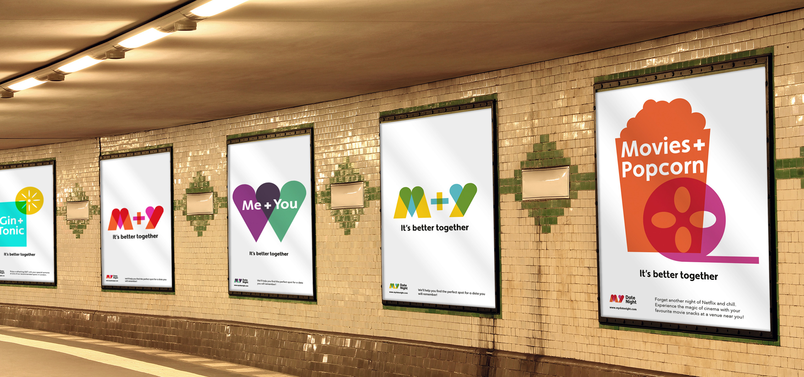 Underground posters for new startup brand My Date Night, designed by White Bear Studio