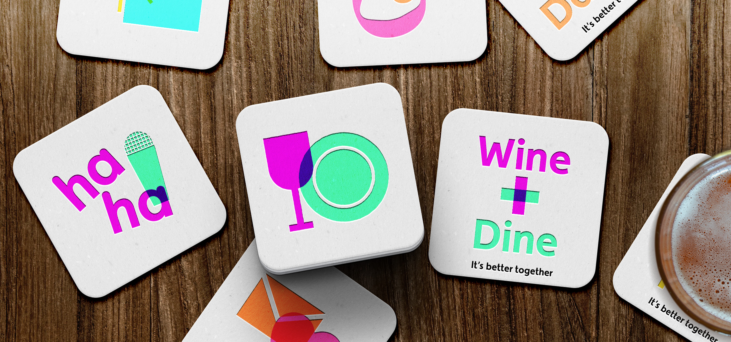 Drinks coasters design for new startup brand My Date Night, designed by White Bear Studio