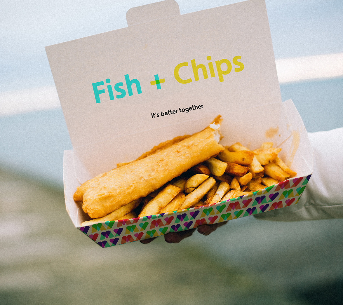 Fish and chips packaging design for new startup brand My Date Night, designed by White Bear Studio