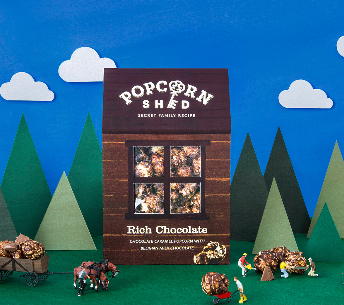 chocolate snack popcorn branding and packaging