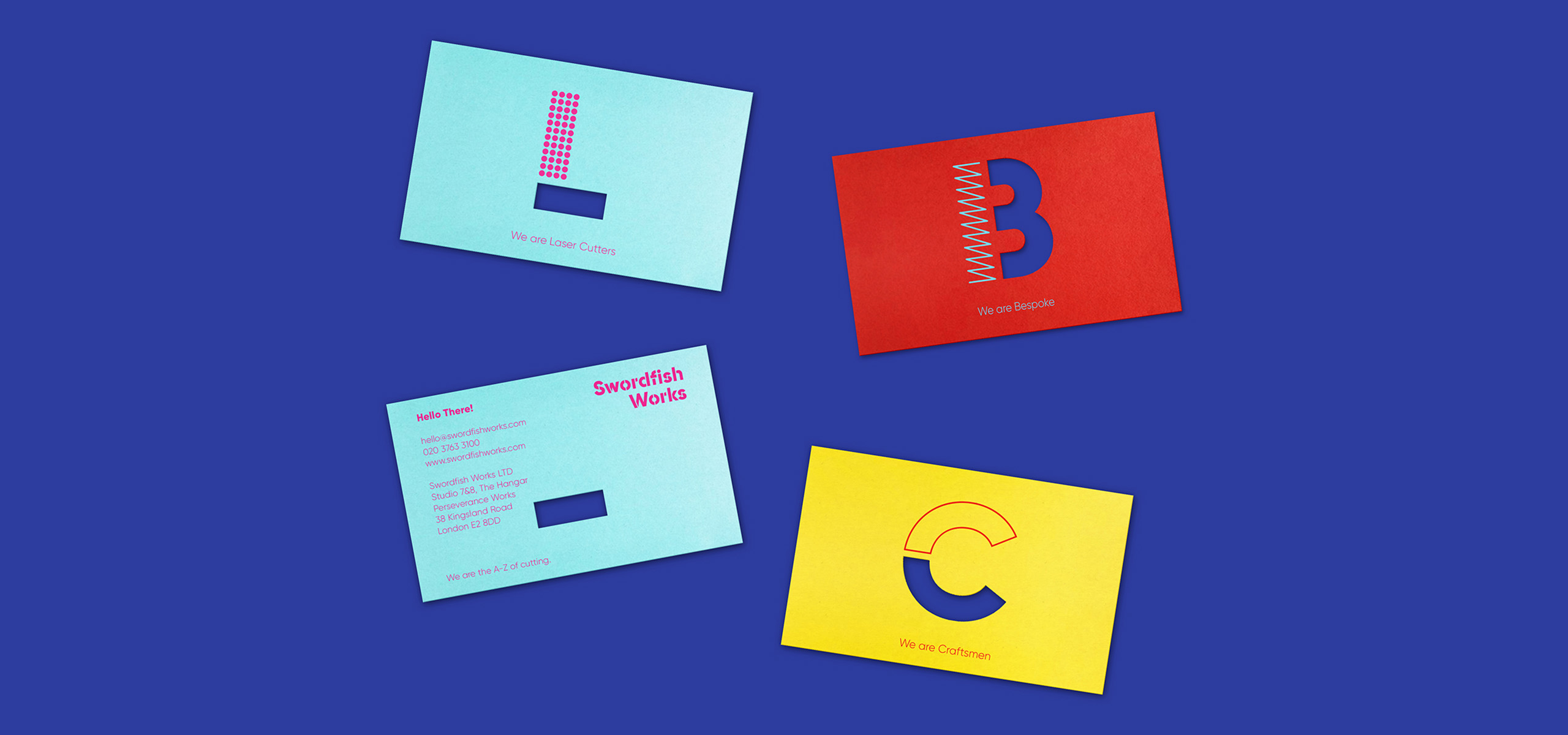 Business cards for laser cutting startup brand Swordfish, designed by White Bear Studio