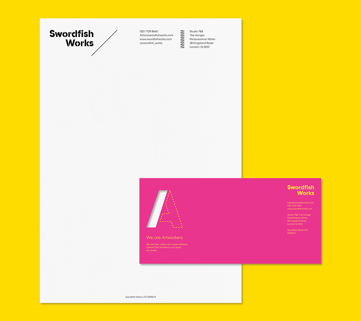 Stationery for laser cutting startup brand Swordfish, designed by White Bear Studio
