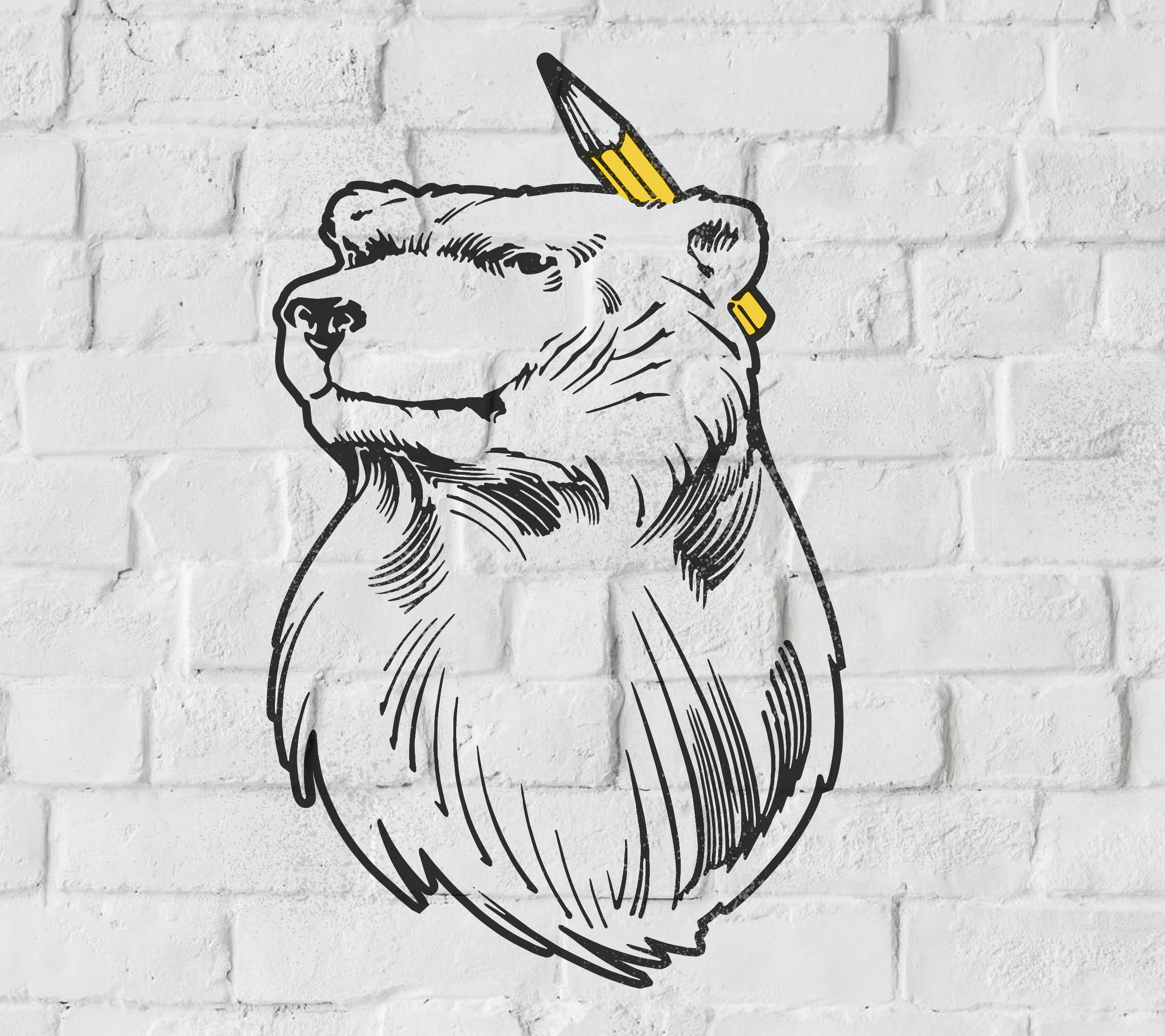 White Bear Studio illustration bear with pencil
