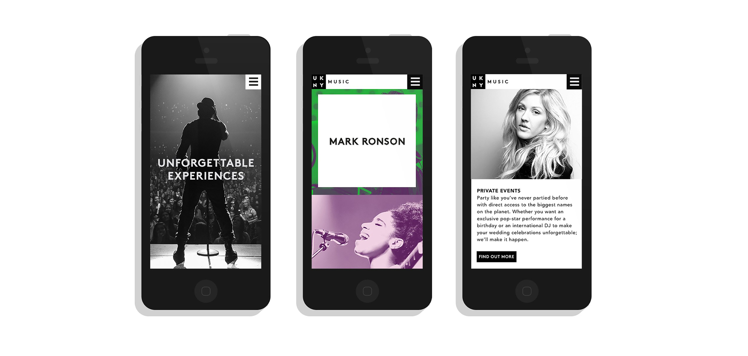App design for entertainment brand UKNY, designed by White Bear Studio