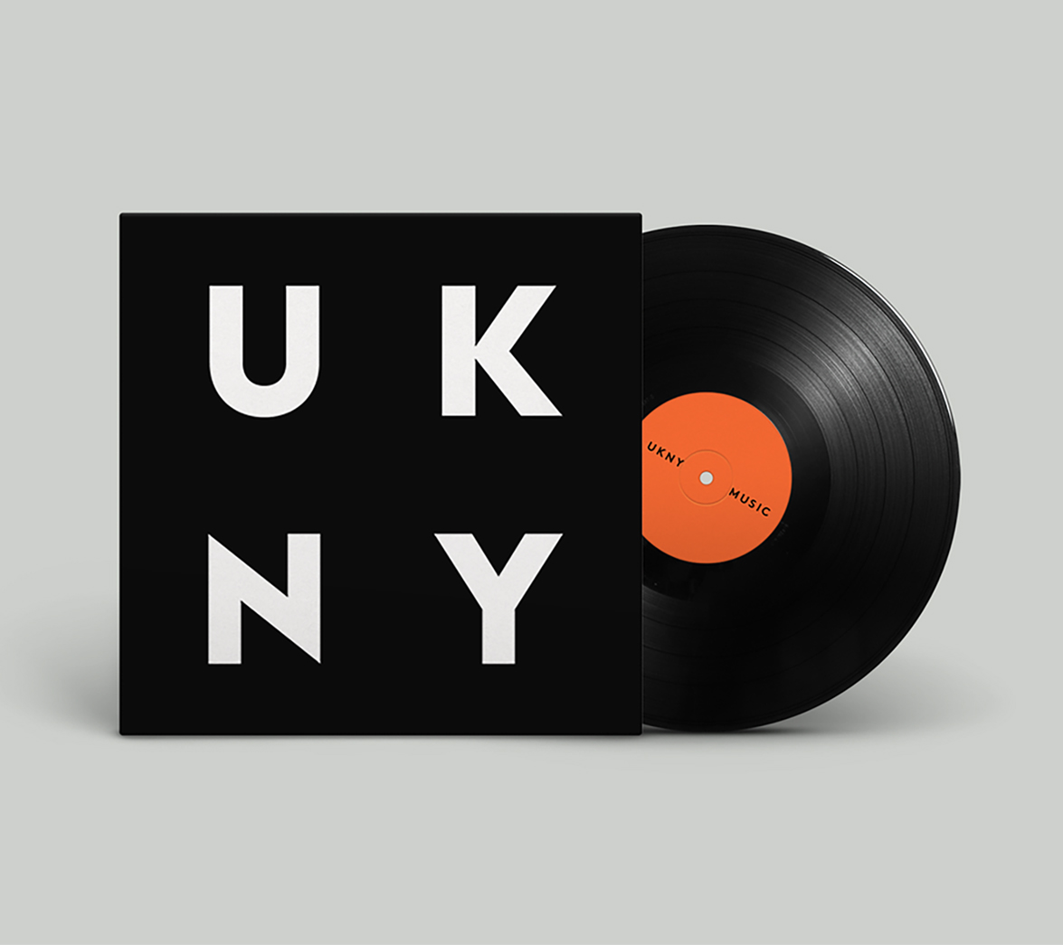Record cover for entertainment brand UKNY, designed by White Bear Studio