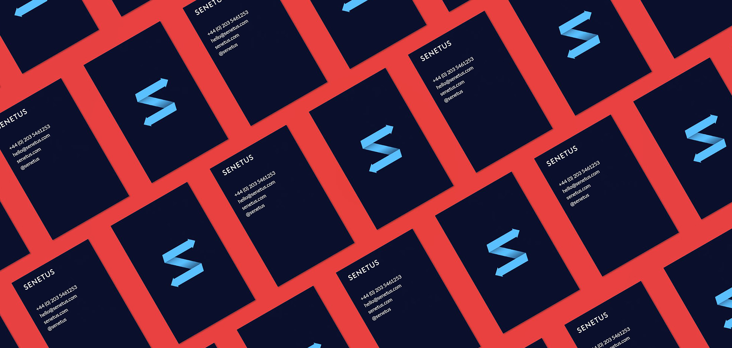 Business cards for startup brand Senetus, designed by White Bear Studio