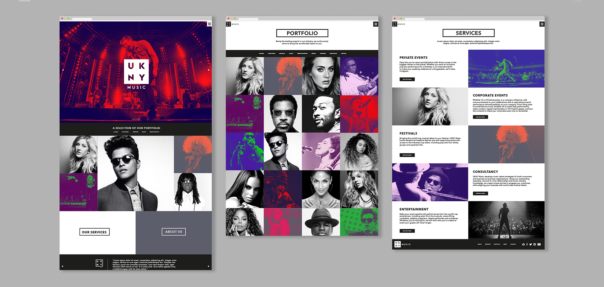 Website design for entertainment brand UKNY, designed by White Bear Studio