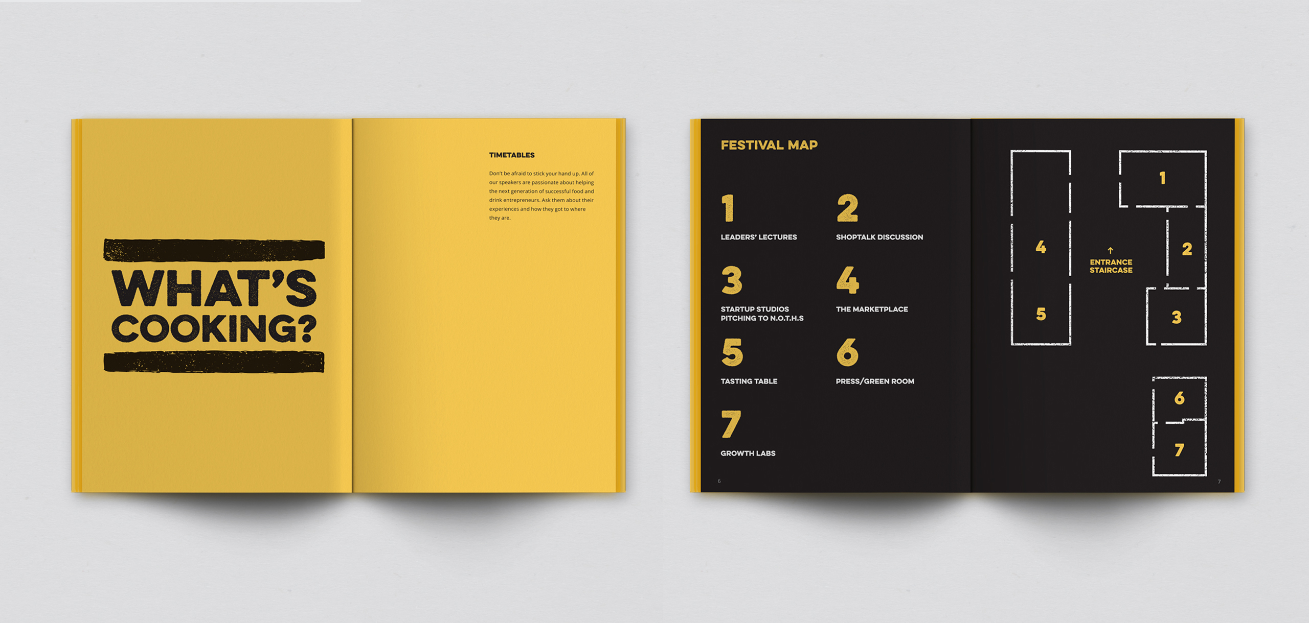 Brochure for food startup Bread and Butter, designed by White Bear Studio