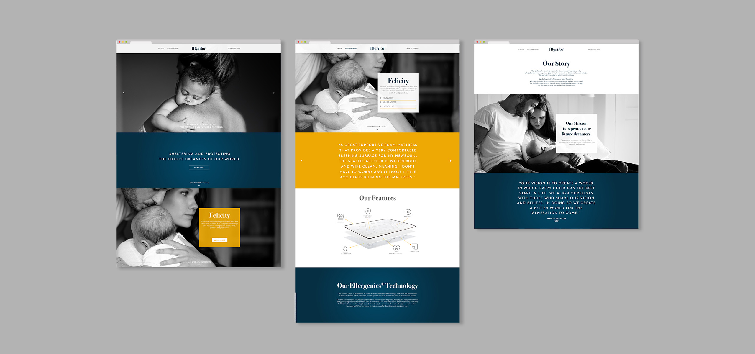 Website design for mattress startup brand Merifor, art directed by White Bear Studio