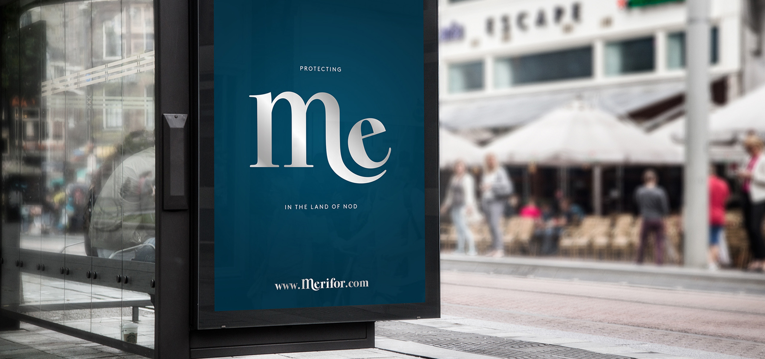 Bus stop design for mattress startup brand Merifor, art directed by White Bear Studio