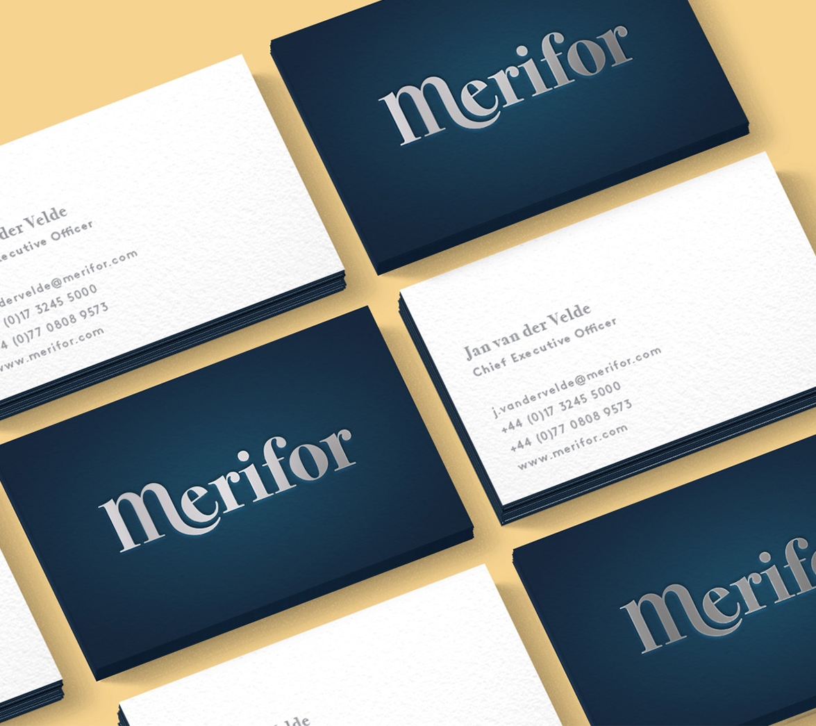 Business cards for mattress startup brand Merifor, art directed by White Bear Studio