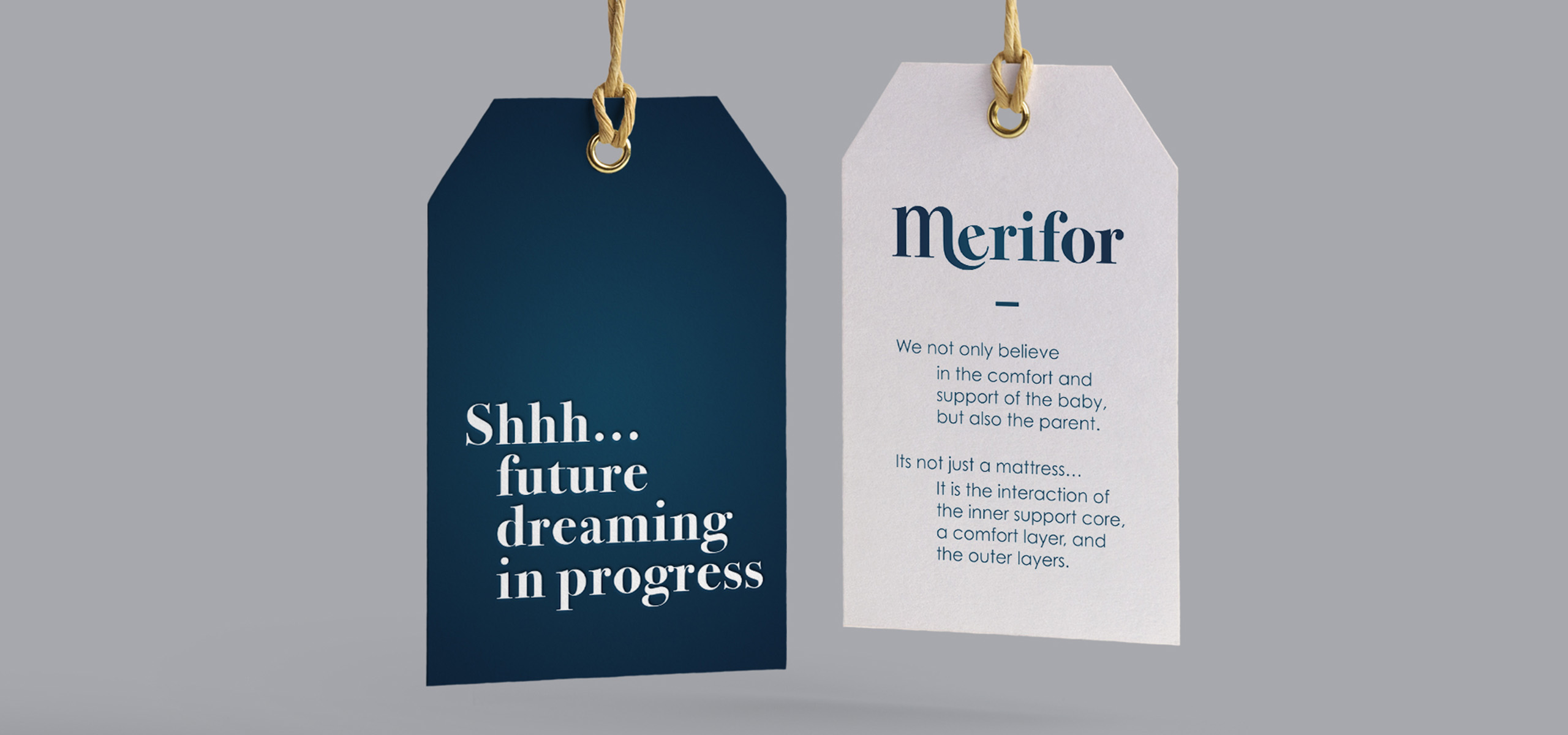 Label design for mattress startup brand Merifor, designed by White Bear Studio