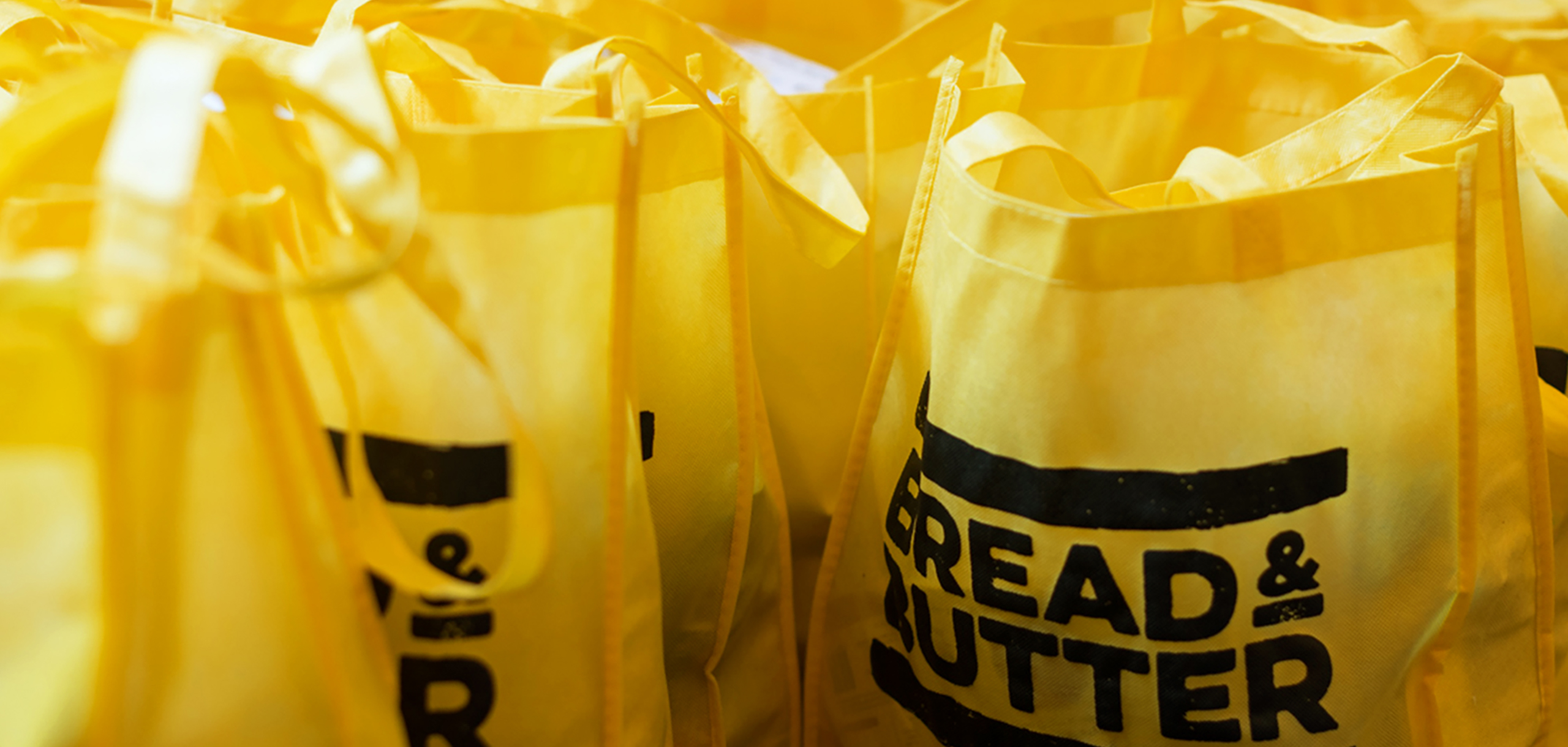 Tote bags for food startup Bread and Butter, designed by White Bear Studio