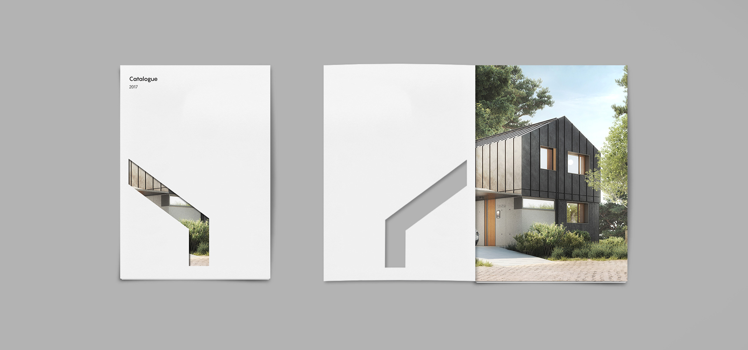 Brochure mockup for architecture startup brand nHouse, designed by White Bear Studio