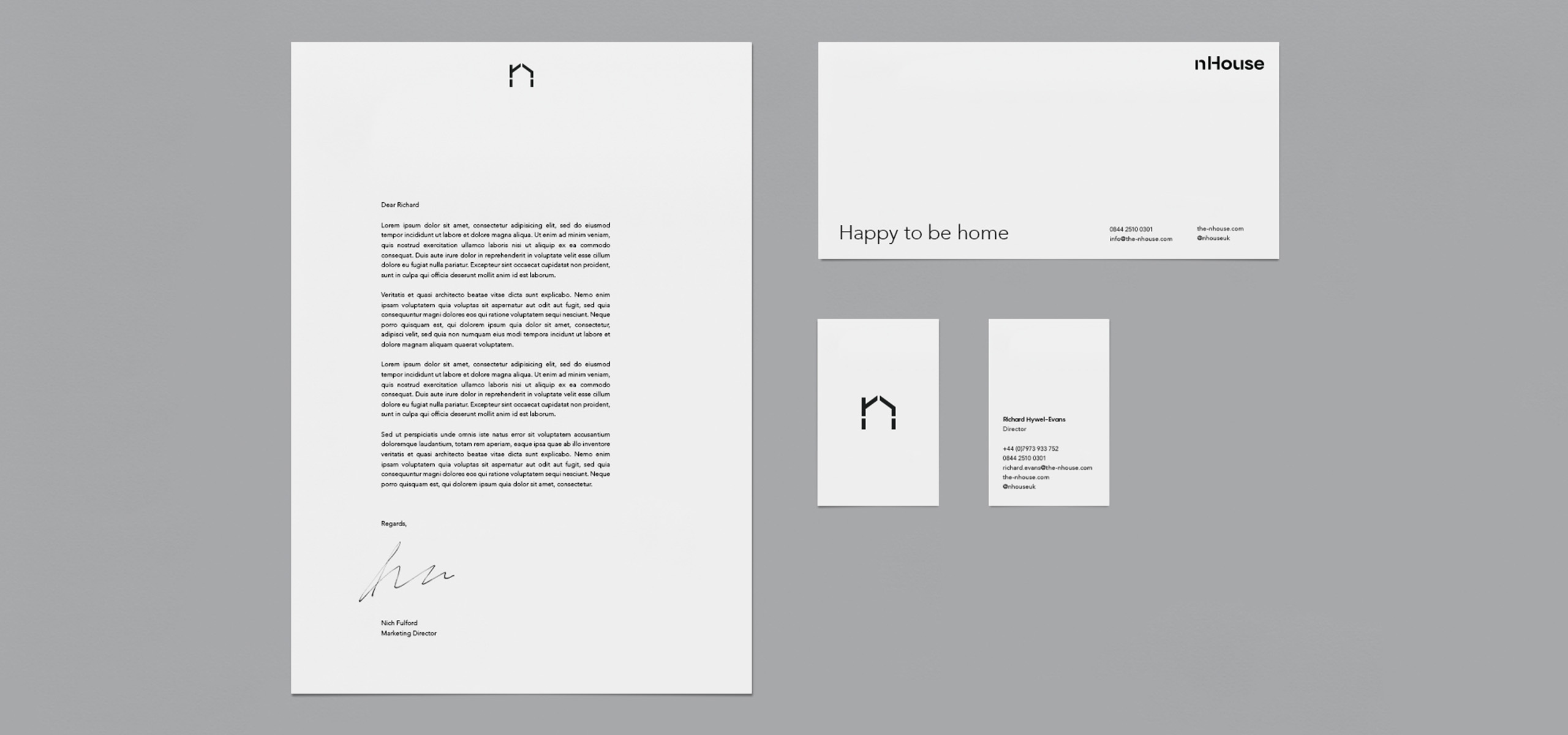 Stationery for architecture startup brand nHouse, designed by White Bear Studio