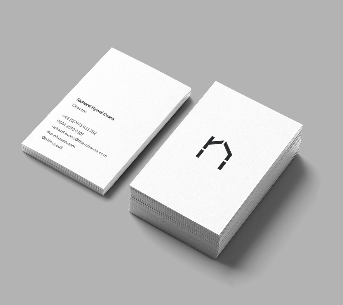 Business cards for architecture startup brand nHouse, designed by White Bear Studio