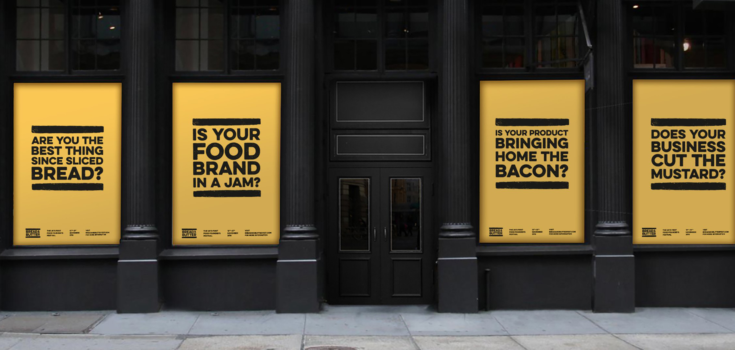 External posters design for food startup Bread and Butter, designed by White Bear Studio