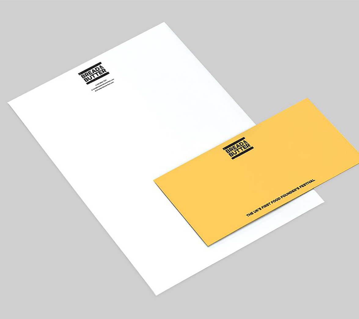Stationery for food startup Bread and Butter, designed by White Bear Studio