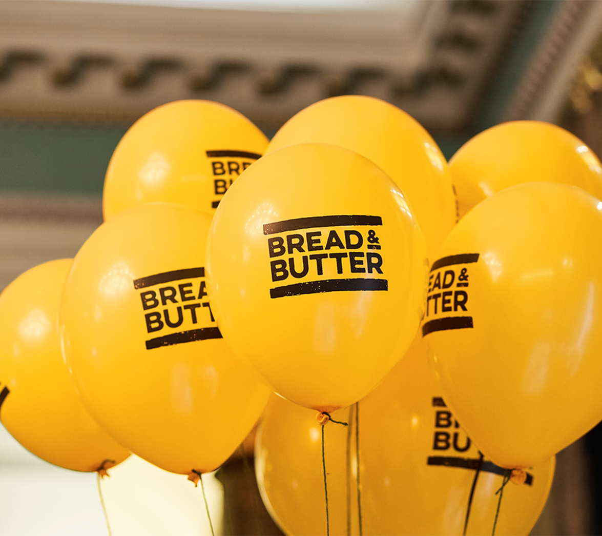 Balloons for food startup Bread and Butter, designed by White Bear Studio