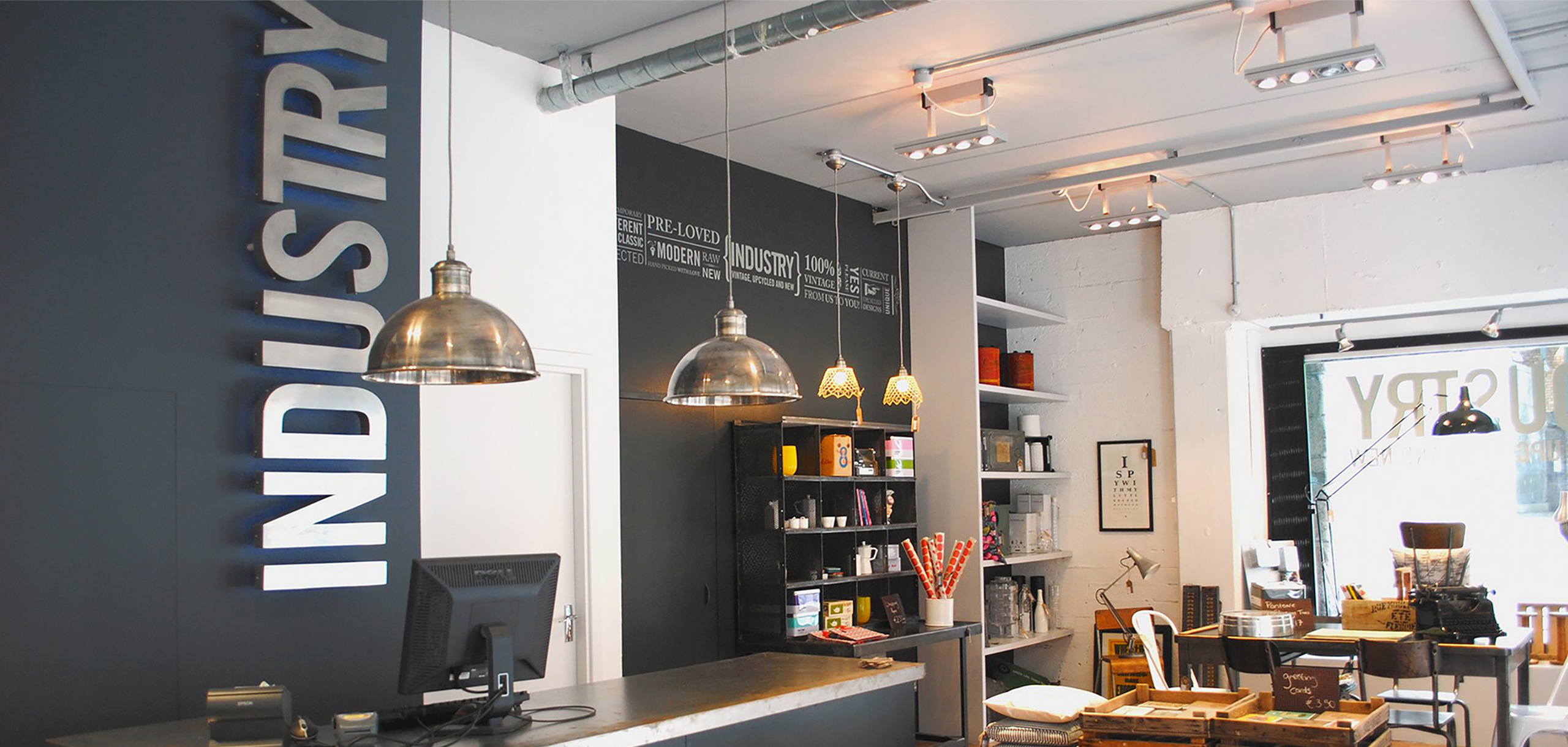 Inside view of Irish lifestyle shop Industry & Co, designed by White Bear Studio