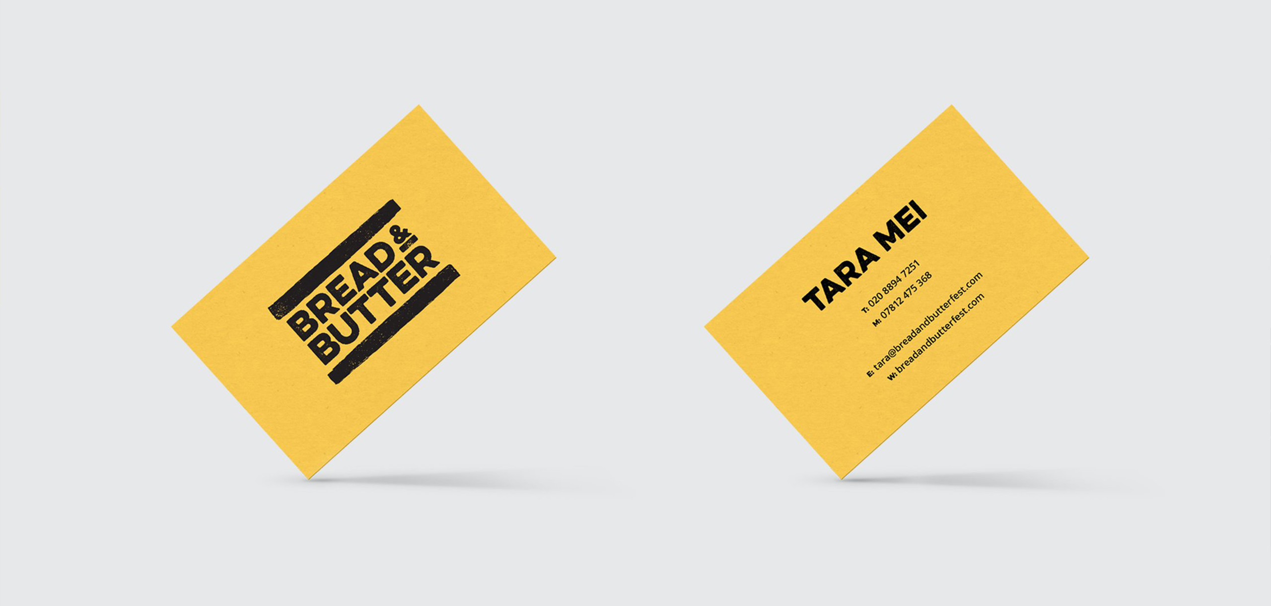 Business cards for food startup Bread and Butter, designed by White Bear Studio